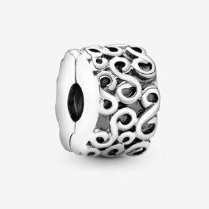 Authentic Pandora Swirl Clip Stopper Charm Bead.